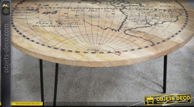 Table basse Ø 92 cm manguier finition naturelle avec mappemonde