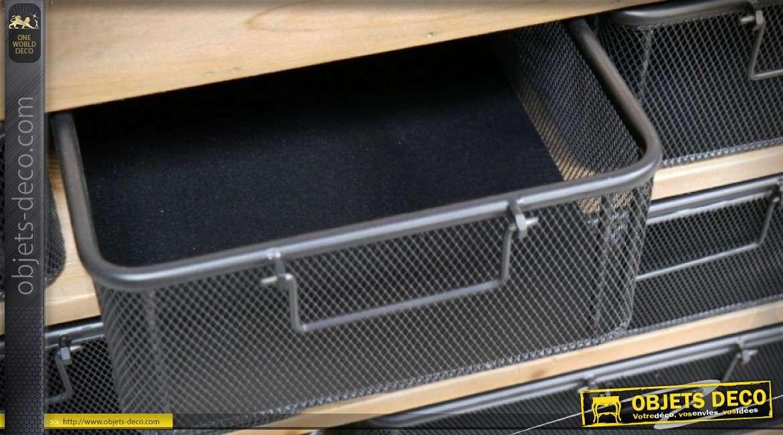Meuble vitrine à casiers avec 7 tiroirs de style rétro en bois et métal