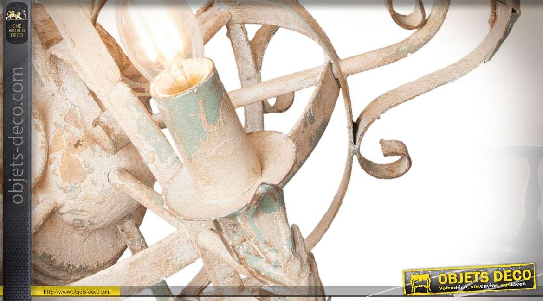 Applique murale de style baroque et romantique à 4 feux en métal effet vieilli et sablé 71 cm