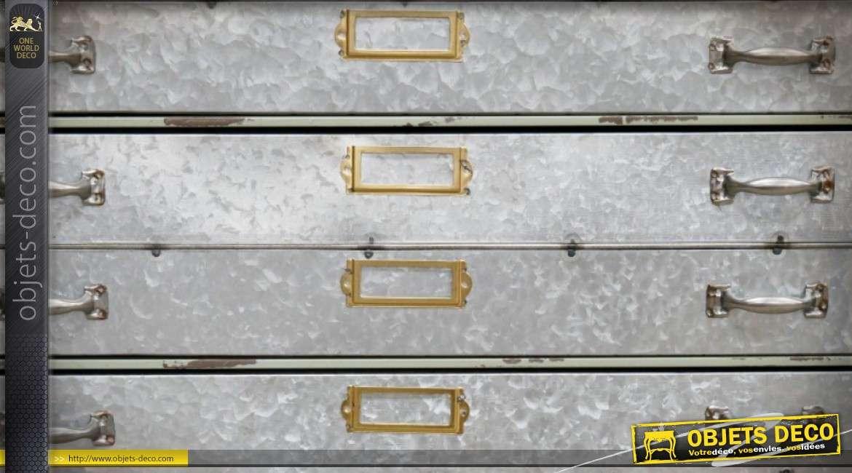 Commode à 3 tiroirs en métal effet zinc vieilli de style industriel et rétro