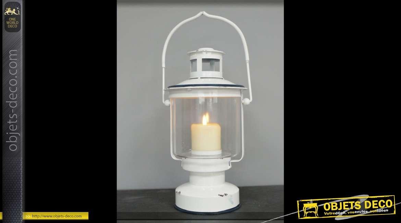 Lanterne décorative blanche vintage en métal et verre 36 cm
