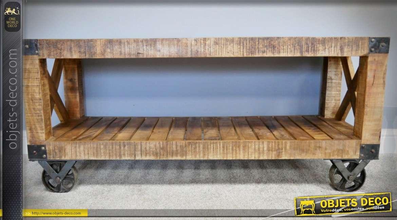 Meuble TV industriel en bois massif et métal vieillis façon chariot d'usine
