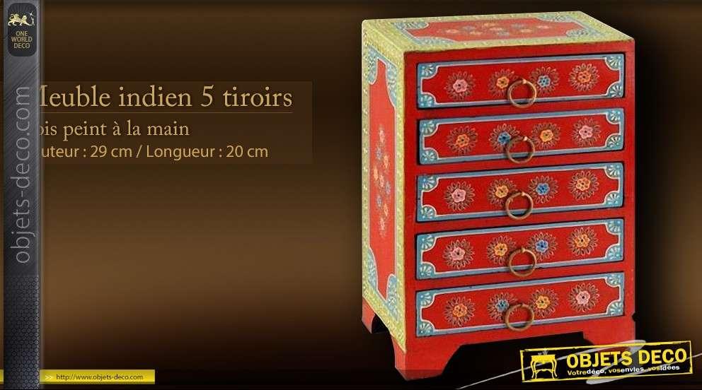 meuble indien 5 tiroirs