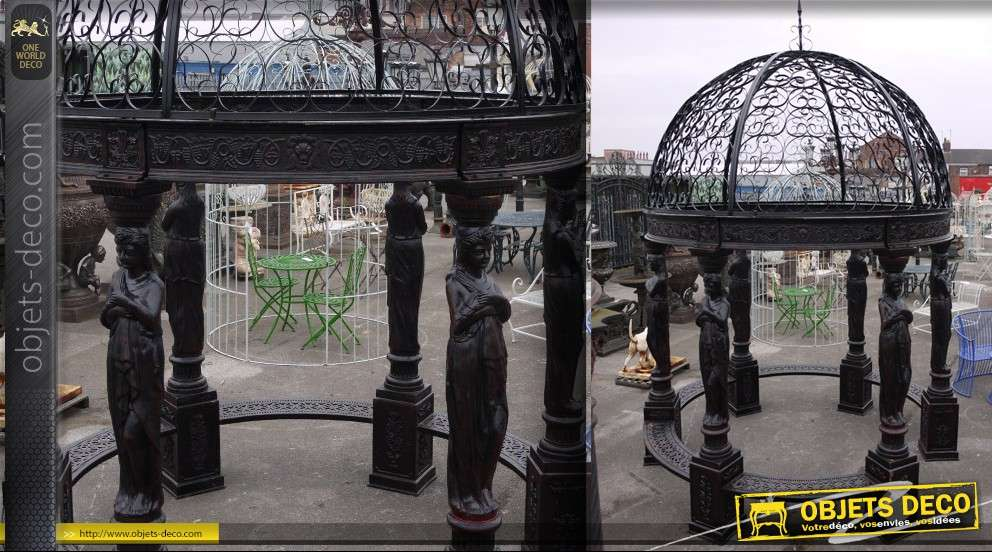 Kiosque-gloriette monumentale en fonte et fer forgé