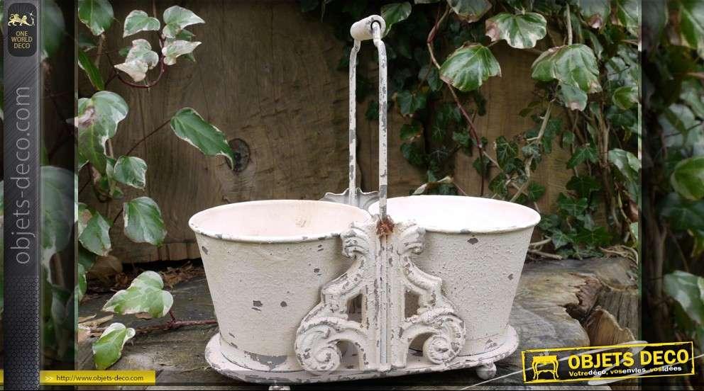 Jardini re d corative en m tal patine blanc antique for Jardiniere decorative