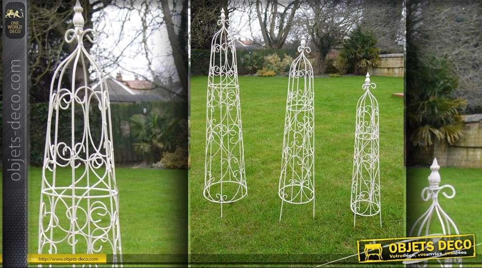 Set de 3 obélisques de jardin en fer forgé (crème)