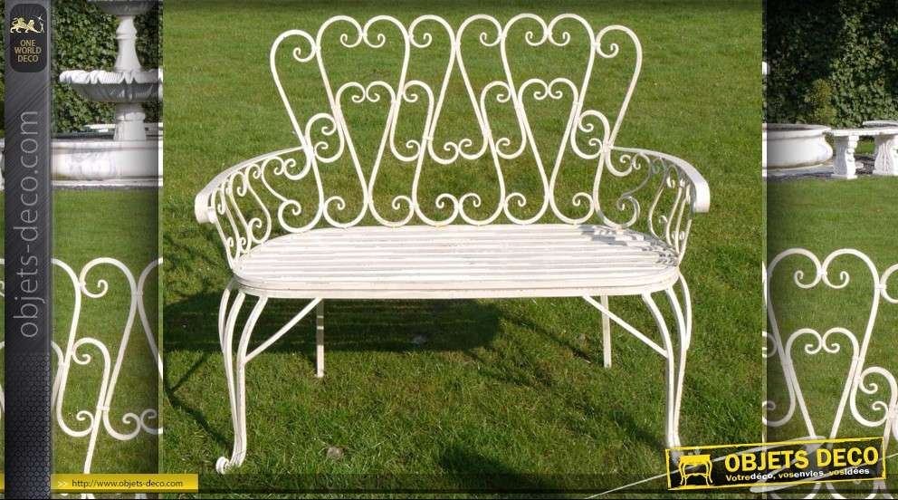 Banc en fer forg baroque 2 places for Banc de jardin en fer forge