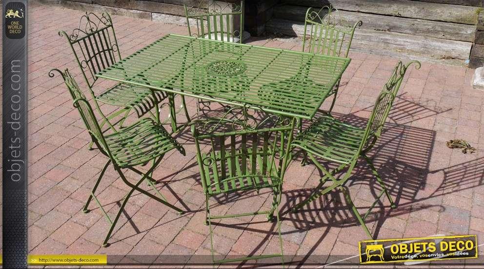 Salon de jardin avec 6 chaises en fer forgé finition vert ...