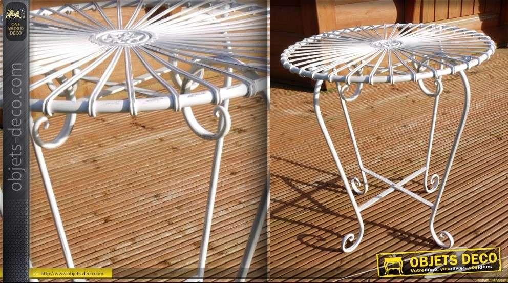 Table style Art Déco blanche en fer forgé
