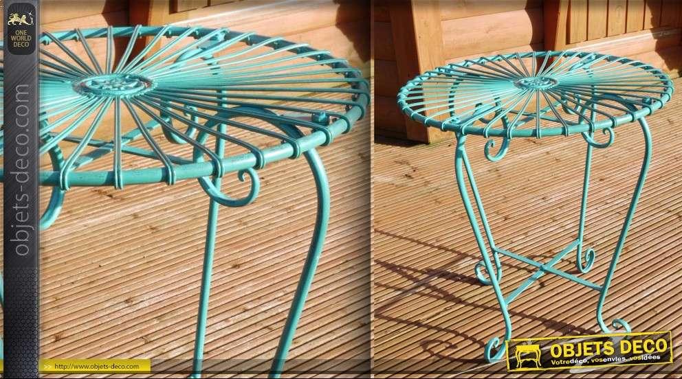 Table style Art Déco bleu turquoise en fer forgé