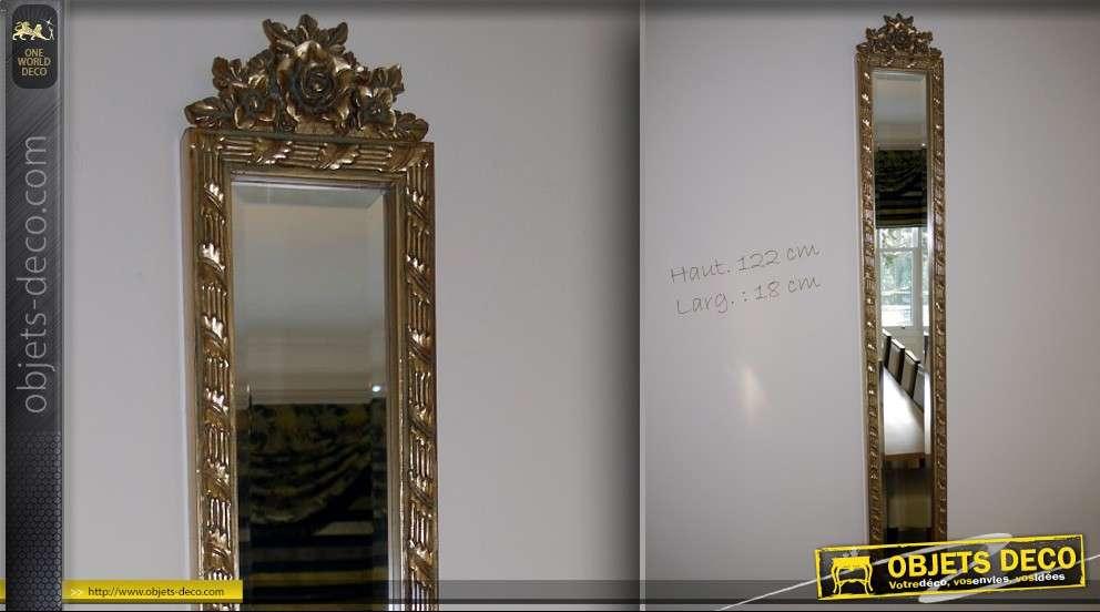 Haut miroir style ancien dor avec d cors de fleurs 122 cm for Miroir en longueur