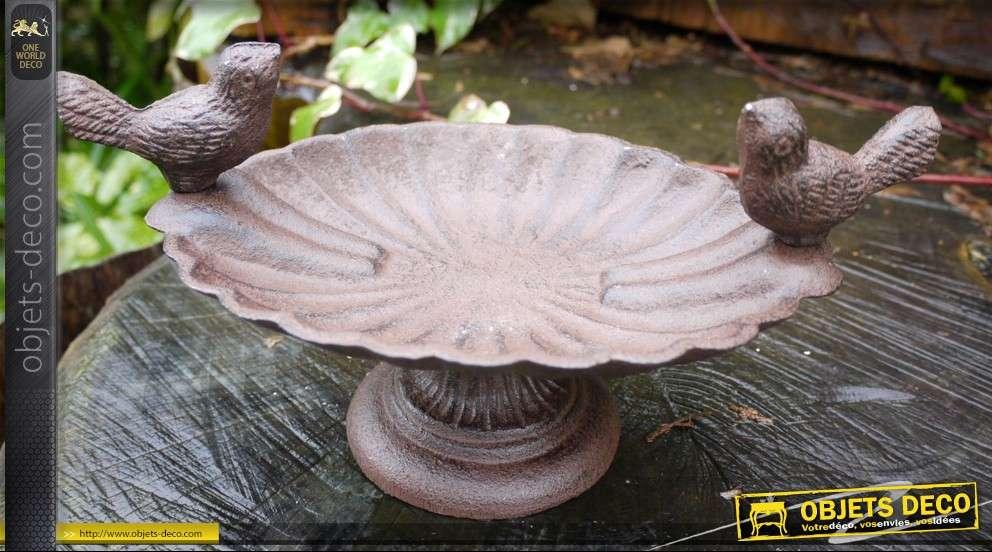 Mangeoire bain d 39 oiseaux en m tal brun antique for Objet metal deco