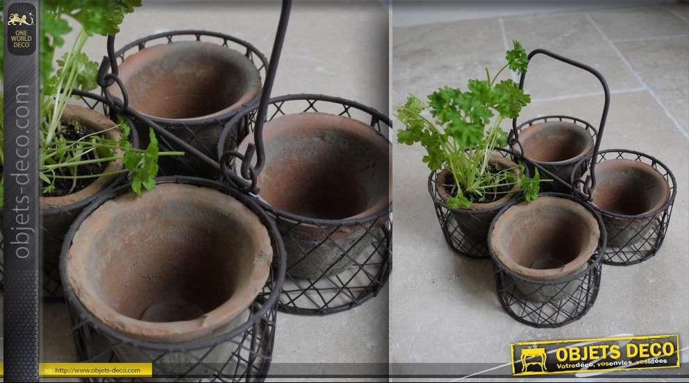 Panier d coratif avec 4 pots en terre cuite - Decoration de jardin avec des pots en terre ...