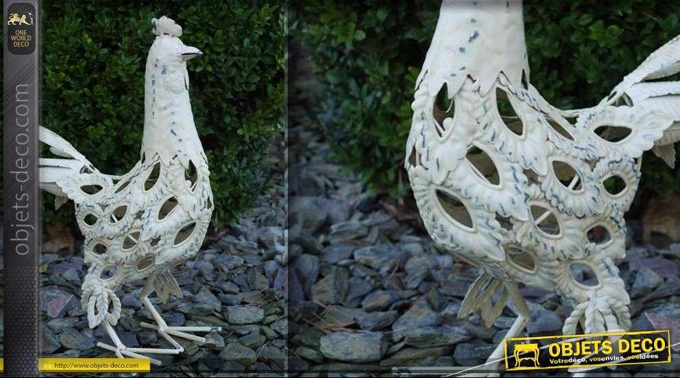 Style Rustique Métal Blanc Fou vacille poule Coquelet ornement décoratif
