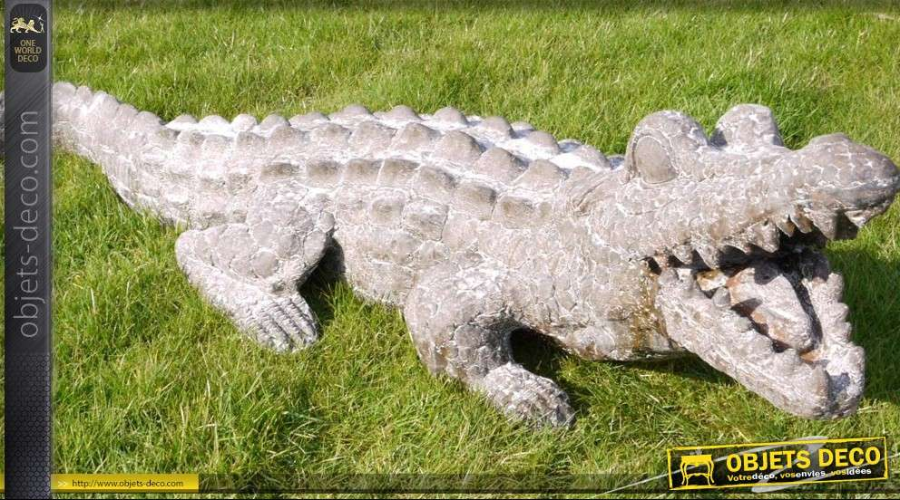 D coration de jardin crocodile imitation pierre for Guijarros deco para jardin