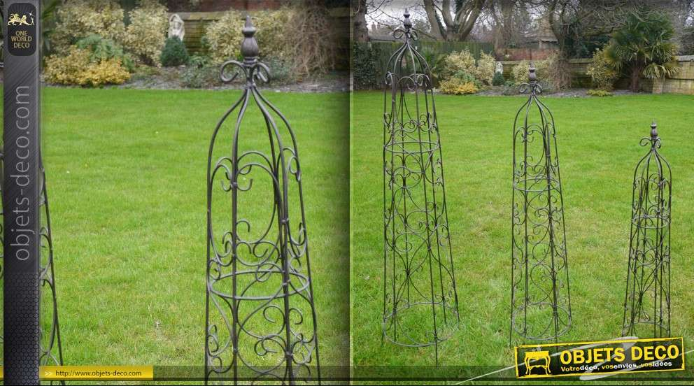 Jeu de 3 ob lisques de jardin en fer forg for Decoration de jardin en fer forge