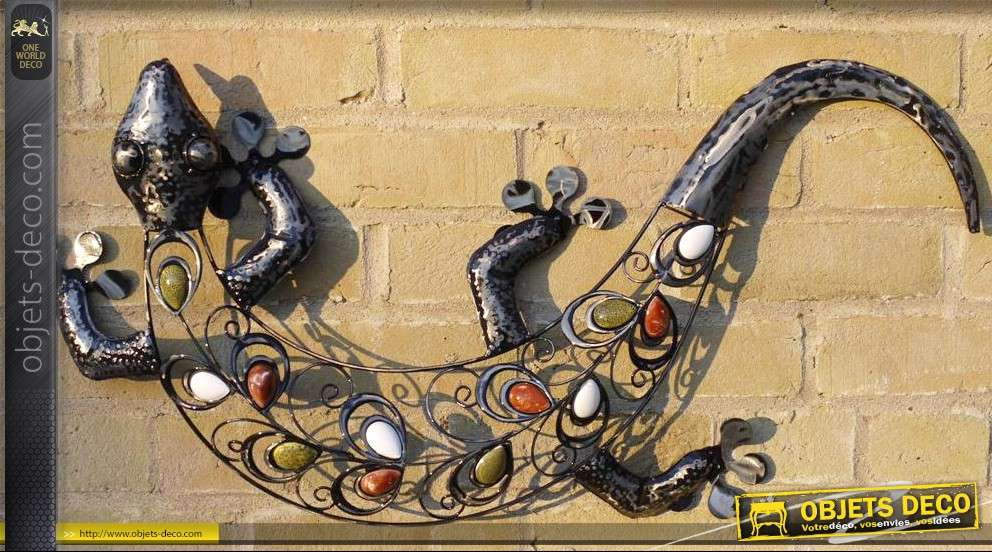D coration murale l zard en fer forg for Decor mural exterieur fer forge
