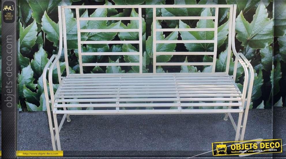Banc de jardin en fer forgé couleur crème