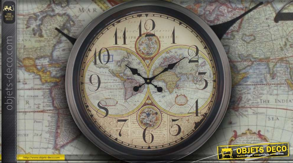 grande horloge murale mappemonde ancienne. Black Bedroom Furniture Sets. Home Design Ideas