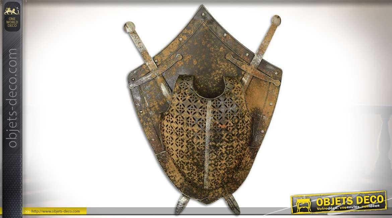 Décoration murale métal oxydé blason, épées et plastron Moyen Âge 75 cm