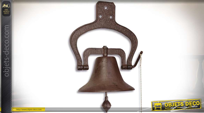 Grande cloche à suspendre en fonte et métal 57,5 cm (Ø 35,3 cm)