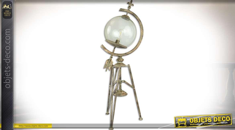 Lampe sur trépied en forme d'ancienne sphère armillaire 95 cm