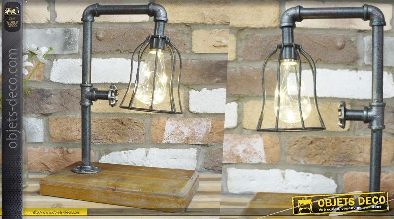 Luminaire d'appoint en métal, style indus, en bois et métal effet vieille plomberie