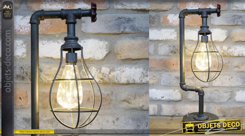 Lampe de table en métal, de style atelier vieilles canalisations, vanne de serrage sur la partie supérieure