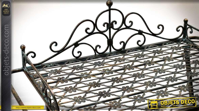 Table de service en métal brun style fer forgé à double plateaux 104 cm