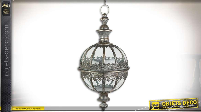 Lanterne sphérique suspendue en verre et métal vieil argent 53,8 cm