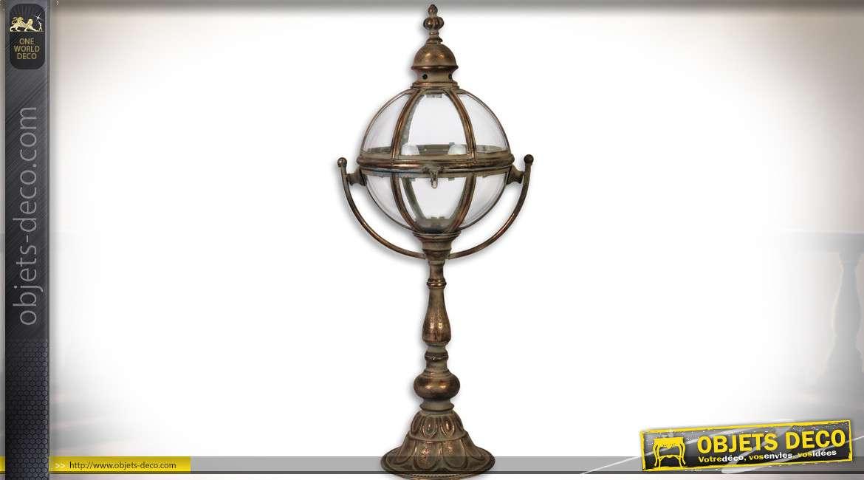 Grande lanterne sphérique vintage sur pied laiton doré vieilli 76,1 cm
