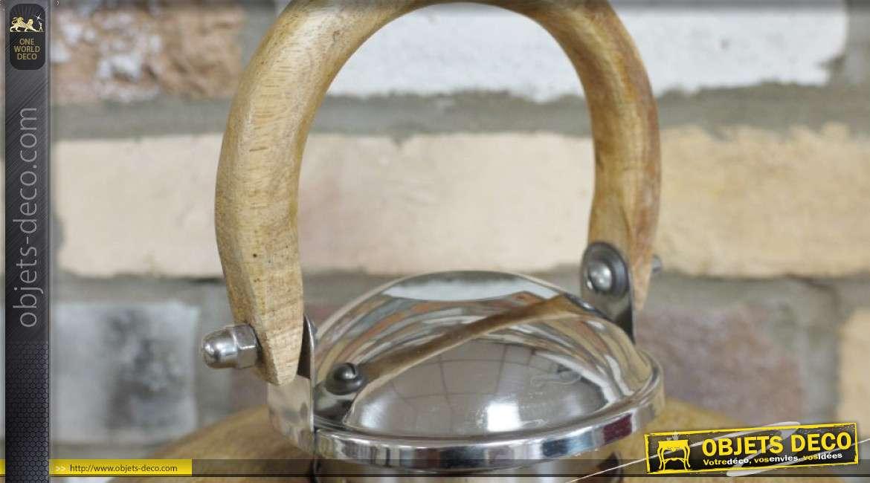 Lanterne en bois, métal et verre de forme hexagonale, style rustico'moderne 50cm