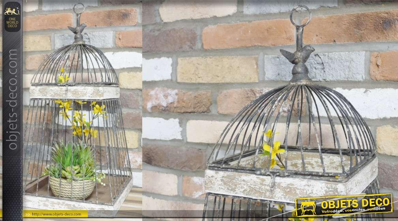 Cage à oiseaux décorative, en bois et métal finitions vieillies avec anneau en son sommet 67cm