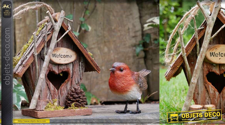 Nichoir à oiseau collection Villa de Luxe, en bois et corde, à suspendre 18cm