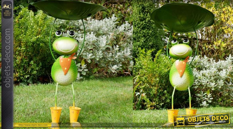Bain d'oiseau en métal, collection Bath'Bird, modèle à poser la grenouille 58cm