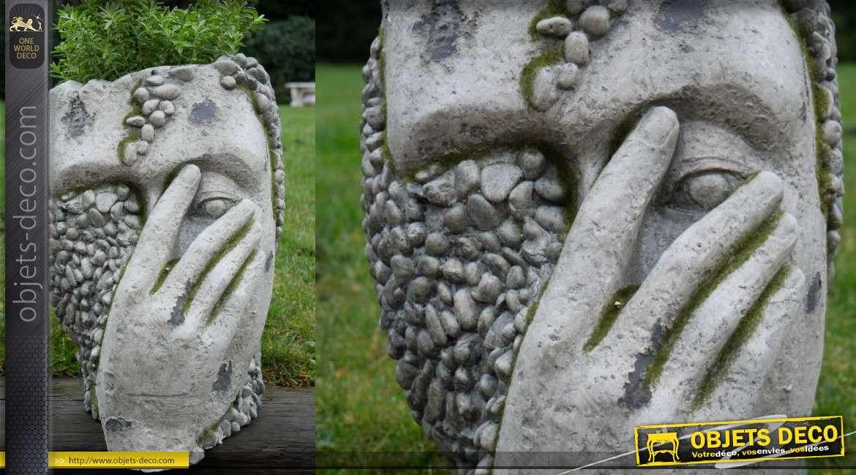 Cache pot en MGO simili pierre, forme de visage effet ancienne sculpture 40cm de haut
