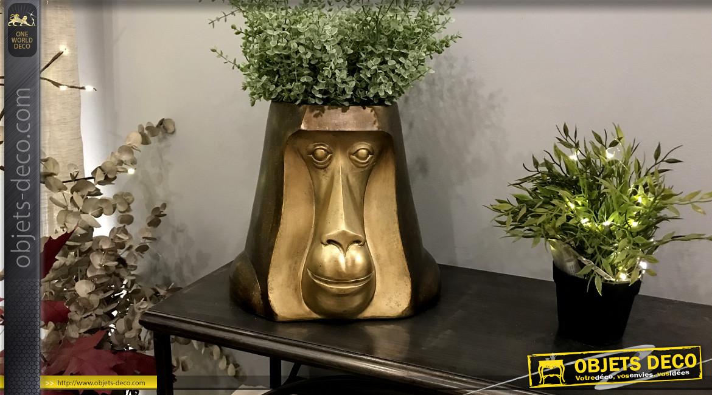 Cache pot en résine, forme de singe aux finitions modernes et brillantes 26cm de haut