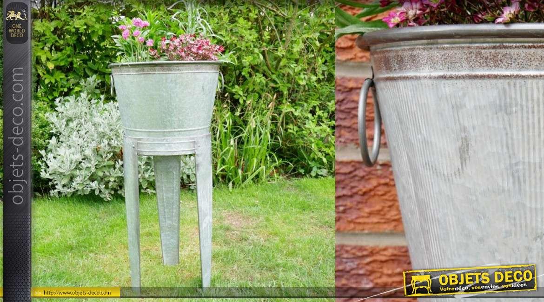 Porte plante sur pieds en métal type zinc inspiration vieille bassine avec anneaux 41cm