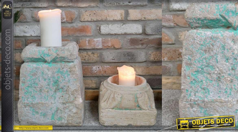 Série de 2 supports en pierre taillée à la main, vrai morçeau d'ancien pillier indien 30cm