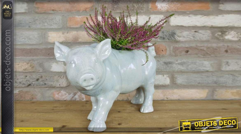 Pot de fleur en forme de cochon grand modèle en céramique finition blanche craquelée bleue