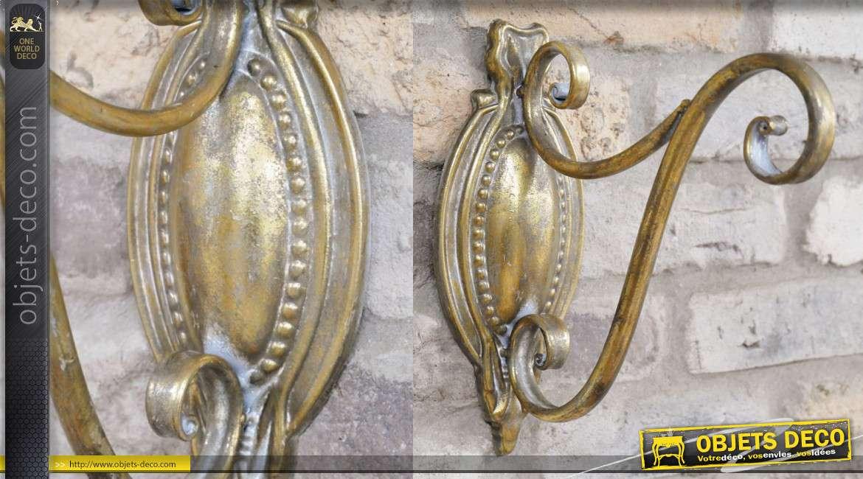 Potence murale en métal finition doré ancien, style baroque 27cm