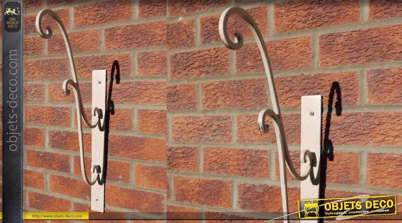 Grande potence en métal style fer forgé, finition beige vieilli 65cm