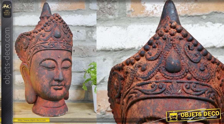 Trophée de bouddha en MGO, rouge finition ancienne usée, intérieur ou extérieur, 46cm