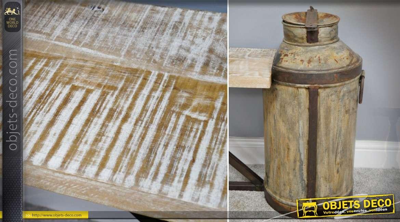 Banc en bois massif et métal avec anciens pots à lait de ferme recyclés 150 cm