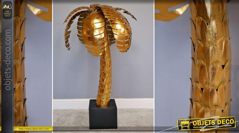 Palmier en métal doré brillant style Art Déco 112 cm