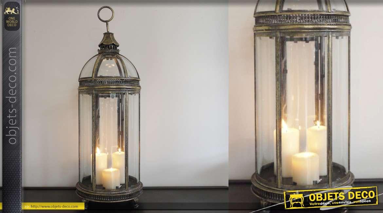 Grande lanterne en métal finition doré ancien, avec anneau de suspension, 80cm