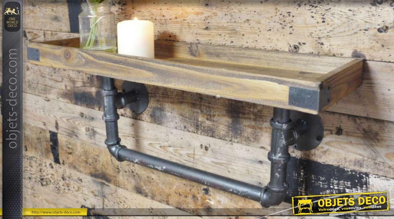 Etagère en bois et métal, de style industriel vieille plomberie finition brut, 60cm