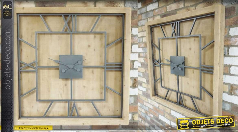 Très grande horloge carrée 100 x 100 en bois finition naturel et double cadran en métal