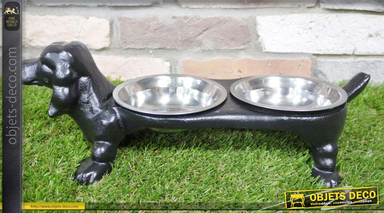 Gamelle pour animaux en forme de chien, en fonte lourde finition noir, 2 bols