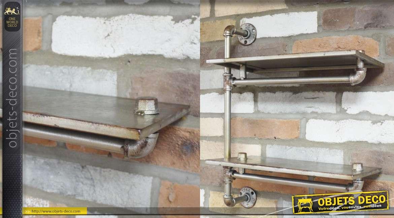 Etagère double en métal finition usé, style industriel ancienne canalisations 56cm